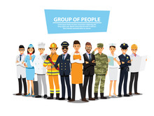 People Group Different Job Set...