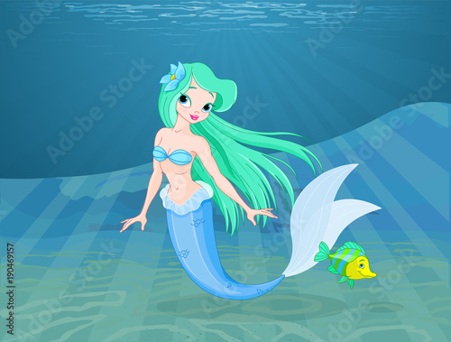 Tuinposter Sprookjeswereld Beautiful mermaid