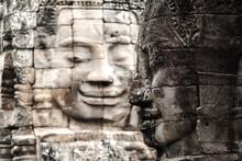 Stone Face Of Prasat Bayon Temple, Angkor Thom Cambodia .