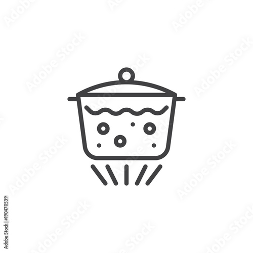 Fotografering  Boiling water in pan line icon, outline vector sign, linear style pictogram isolated on white