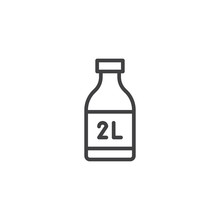 Two Liter Bottle Line Icon, Outline Vector Sign, Linear Style Pictogram Isolated On White. Symbol, Logo Illustration. Editable Stroke