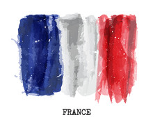 Watercolor Painting Flag Of Fr...