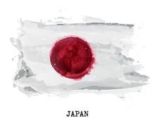 Watercolor Painting Flag Of Ja...