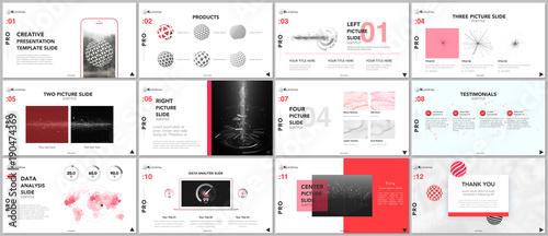 Fototapeta Minimal presentation templates. Tech elements on white background. Technology sci-fi concept vector design. Presentation slides for flyer, leaflet, brochure, report, marketing, advertising, banner obraz