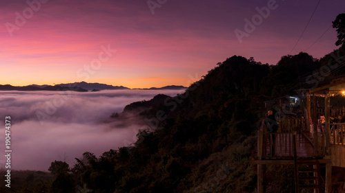 Foto op Plexiglas Crimson Mountain landscape and morning mist.