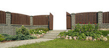 Exit From Paradise Concept. Open Wicket In A Solid Wooden Fence.