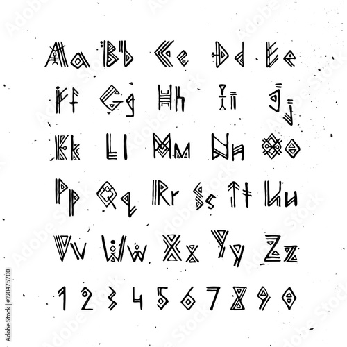 old norse scandinavian font runic alphabet futhark style letters ancient occult symbols