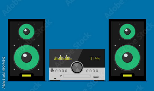 Cuadros en Lienzo Home stereo flat vector music systems