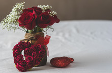 Vase And Roses With Heart Shap...