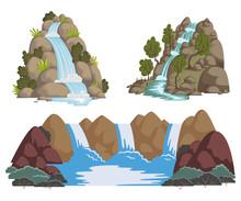 Waterfalls Set. Cartoon Landsc...
