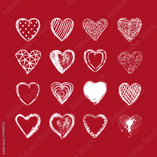 Hand Drawn Heart Background Valentines Day Red White Color Vector Illustration Love Wallpaper