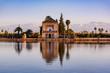 Leinwanddruck Bild - Saadian pavilion,Menara gardens and Atlas in Marrakech, Morocco, Africa