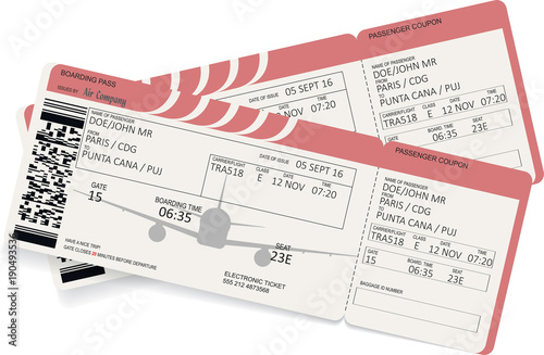 Airplane Boarding Pass Red Ticket Isolated On White Background
