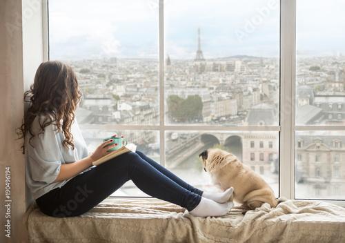 Obrazy na płótnie Canvas Paris view window.