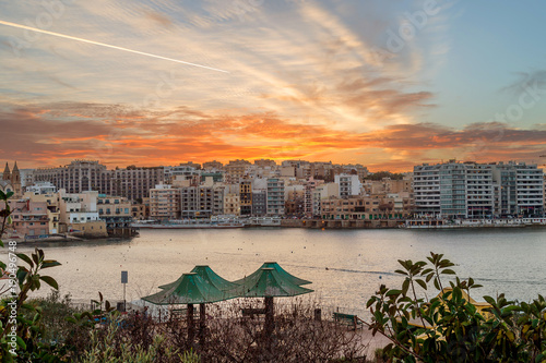 Fototapeta Sunset in St. Julians, popular Maltese resort and destination on Malta island. obraz