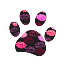 Black Paw Print With Lips. Val...