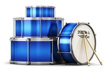 Blue Drum Set With Drumsticks