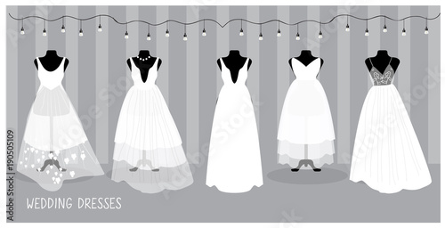 Different Bride Elegant And Glamour Dresses Isolated In Vector Wedding Fashion Cartoon Illustration Buy This Stock Vector And Explore Similar Vectors At Adobe Stock Adobe Stock