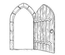 Cartoon Vector Doodle Drawing Illustration Of Open Medieval Wooden Decision Door.