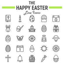 Happy Easter Line Icon Set, Ho...