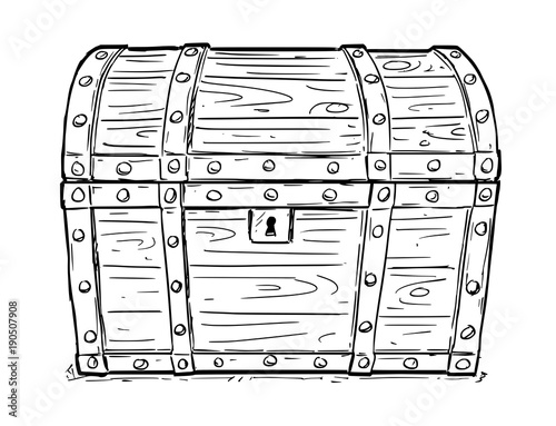 Fotografie, Obraz Cartoon vector doodle drawing illustration of old wooden closed and locked pirate treasure chest or trunk