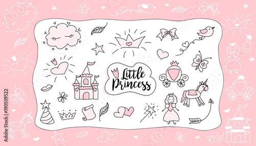Childrens Drawings Little Princess Set Of Doodle Illustration