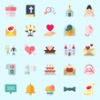 Icons set about Wedding with wedding cake, marriage, love letter, camcorder, candelabra and balloons