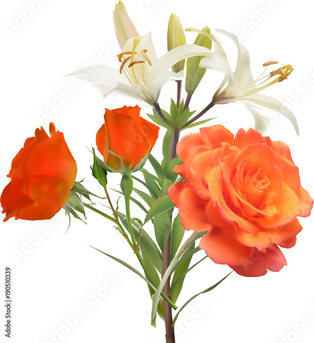 white lily and orange rose flowers bunch © Alexander Potapov
