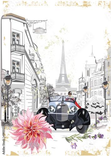 Moda dziewczyna w kapeluszu i płaszcz zakupy na ulicy starego miasta. Retro samochód. Ręcznie rysowane wektor architektoniczne tło z zabytkowymi budynkami.