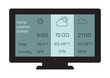 Home weather station widget. Weather station home equipment, indicated temperature in Fahrenheit degrees and relative humidity in percents, forecast for six hours. Wireless climate monitoring.