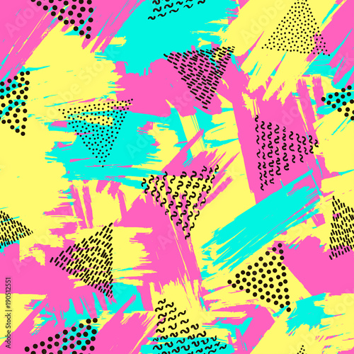 Valokuva  Colorful seamless pattern from triangles on the bright brush strokes background