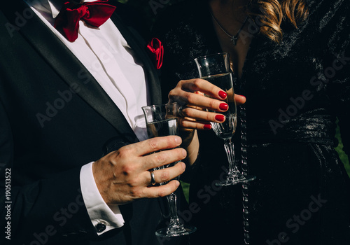 party champagne style black clothes red accessories Canvas Print