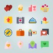 Icon set about Wedding. with bag, placeholder and camera