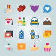 Icon set about Wedding. with heart, wedding building and wedding day