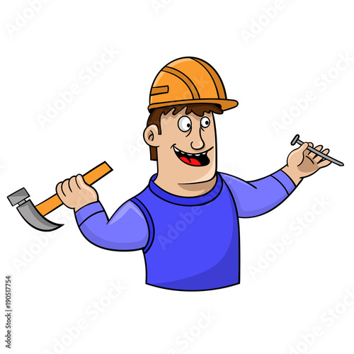 cartoon young man in a hard hat with a hammer and nails