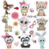 Fototapeta Child room - Set of Cute Cartoon Animals