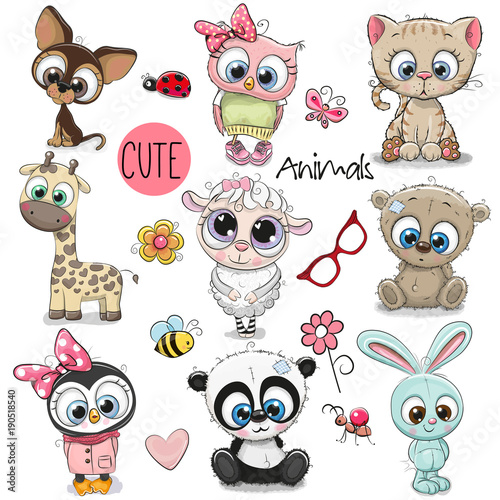 Set of Cute Cartoon Animals - Buy this stock vector and ...