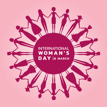 International Women Day With Pink Purple Womans Holding Hands To Circle Banner Vector Design