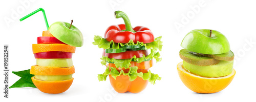 Poster Légumes frais Stack of mixed fruit and vegetable slices