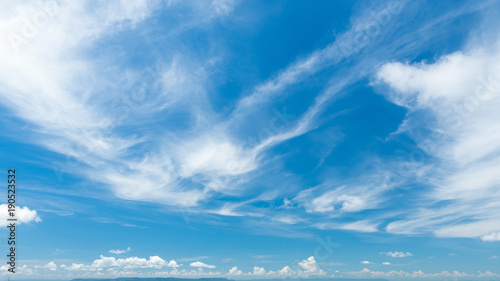 mata magnetyczna Cirrostratus cloudscape or Fluffy cirrus clouds on blue blue sky, Beautiful cirrocumulus on the high altitude layer