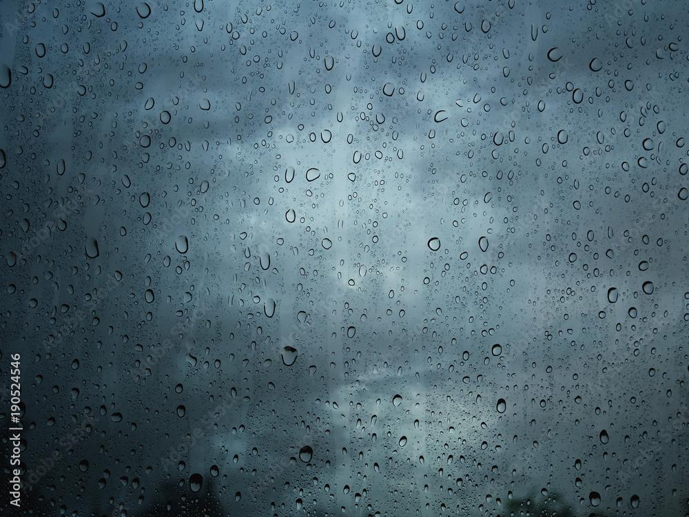 Fototapeta Rain water drop on window glass background