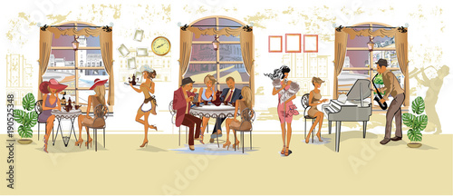 Obraz na płótnie Series of people drinking coffee inside romantic café, jazz musicians, waiters serve the tables