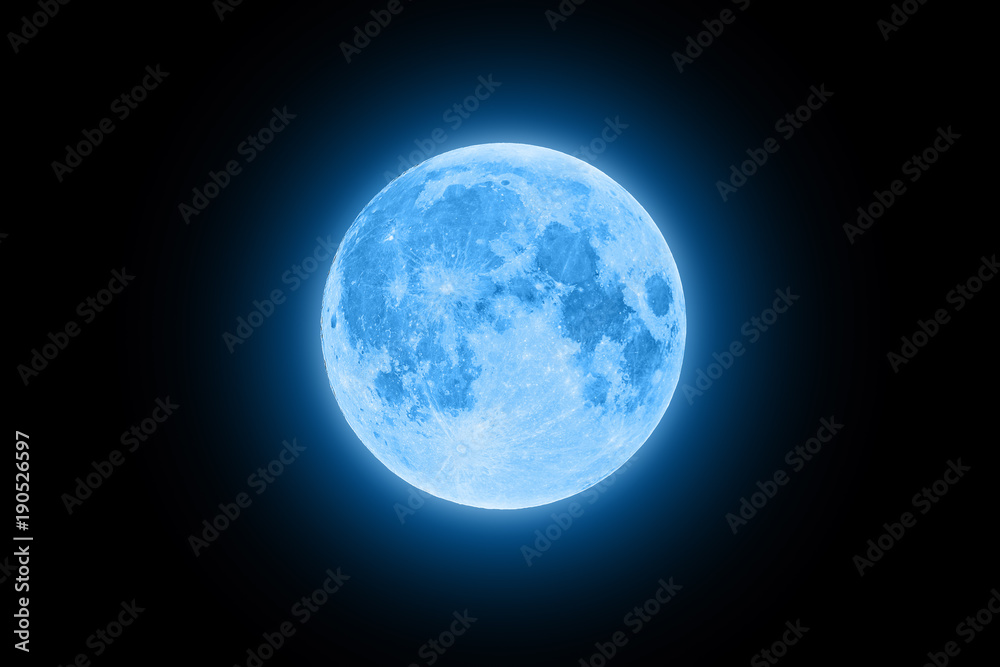 Fototapety, obrazy: Blue super moon glowing with blue halo isolated on black background