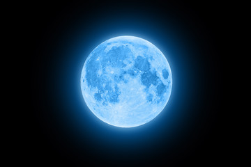 Blue super moon glowing with blue halo isolated on black background