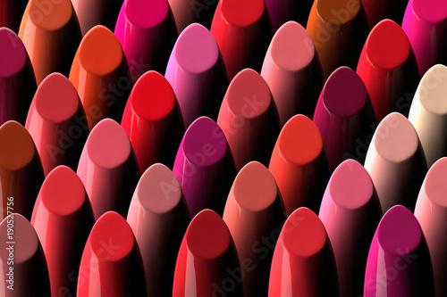 Fotografiet  3D render of a large assorment of lipsticks