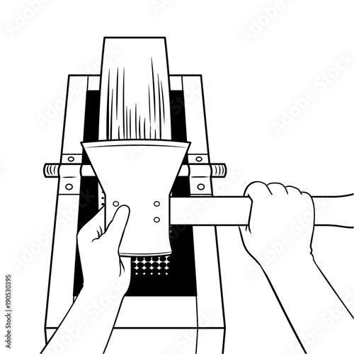 Fotografie, Tablou Sharpening ax on grindstone coloring book vector