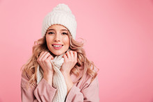 Happy Young Woman Wearing Warm...