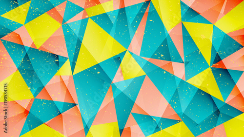 abstract background with geometric pattern. vector creative abstraction over paper texture. presentation banner, colorful wallpaper, business card layout. grungy poster design © metrue