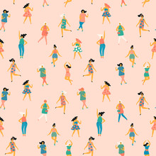 Vector Illustration Of Dancing Women. Seamless Pattern.