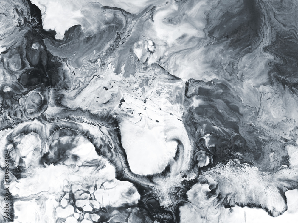 Fototapeta Black and white marble abstract hand painted background
